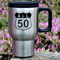 "Brass Ring Multimedia design: All 50 Corvette ""Route Sign"" logo on stainless steel mug (image)"