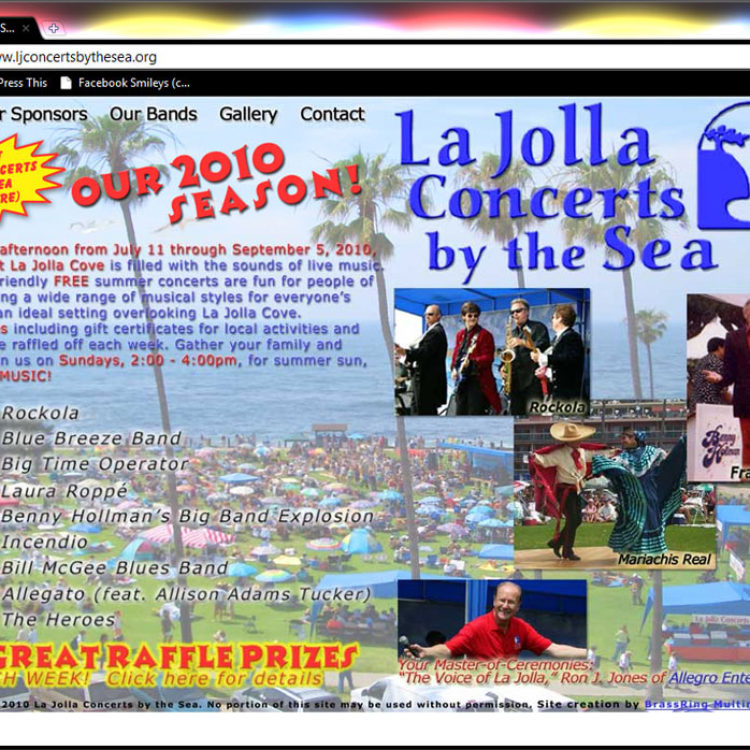 La Jolla Concerts By The Sea Website Design