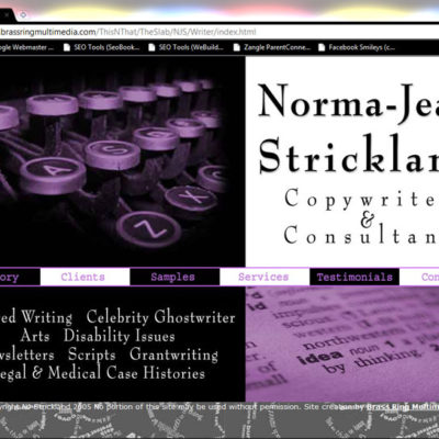 Norma-Jean Strickland, Copywriter & Consultant Website Design