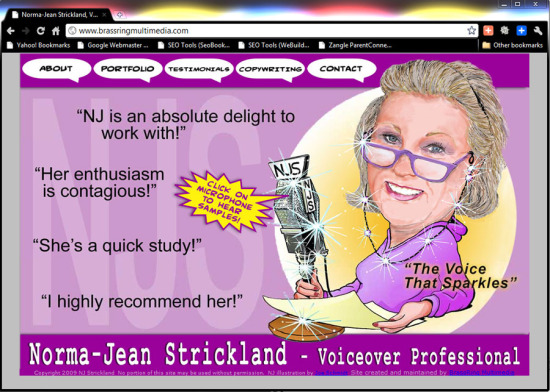 Brass Ring Multimedia design: Norma-Jean Strickland, voice-over artist website (image)
