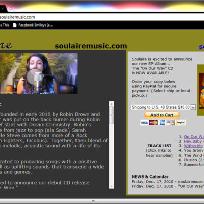 "Soulaire Music CD Release ""mini-page"" Website Design"