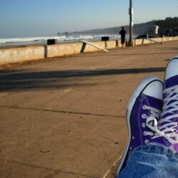 Brass Ring Multimedia - Chuck Taylor All-Star Purple hi-top sneakers (on Edward's feet, image)