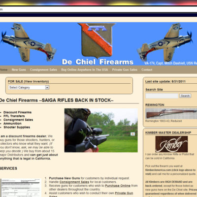 NEW SITE! De Chiel Firearms WordPress Website Design (example: $397 WordPress Special)