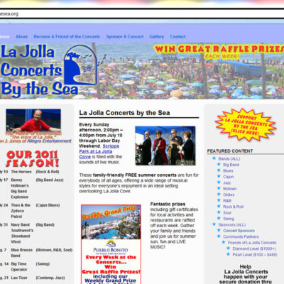 NEW SITE! La Jolla Concerts by the Sea WordPress Website Design (example: $397 WordPress Special)