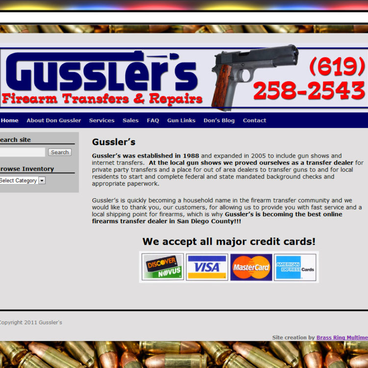 NEW SITE! Gussler's Firearms Transfers & Repairs WordPress Website Design (example: $397 WordPress Special)