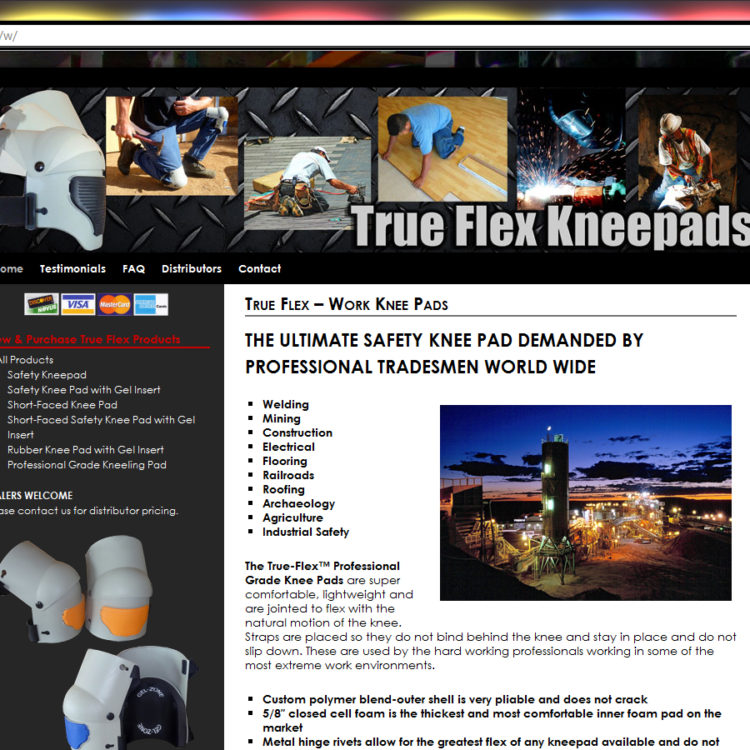 NEW SITE! True Flex Kneepads WordPress Website Design (example: $397 WordPress Special)