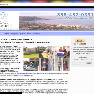 NEW SITE! La Jolla Meals On Wheels Website Design (example: $397 WordPress Special!)