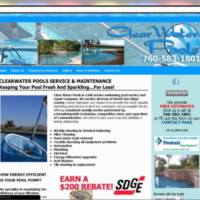 NEW SITE! ClearWater Pools WordPress Website Design ($397 WordPress Special)