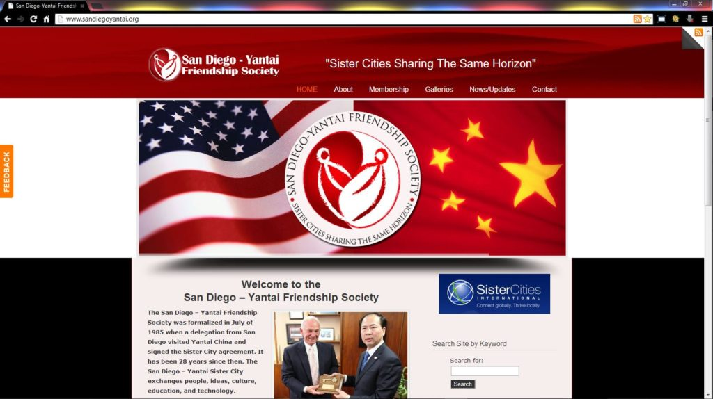 San Diego - Yantai Friendship Society WordPress website by Brass Ring Multimedia
