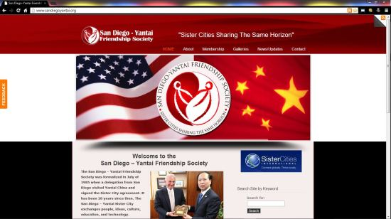 San Diego - Yantai Friendship Society WordPress website by Brass Ring Multimedia