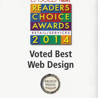 Brass Ring Wins 2014 Best Web Design Award, La Jolla Village News Readers Choice