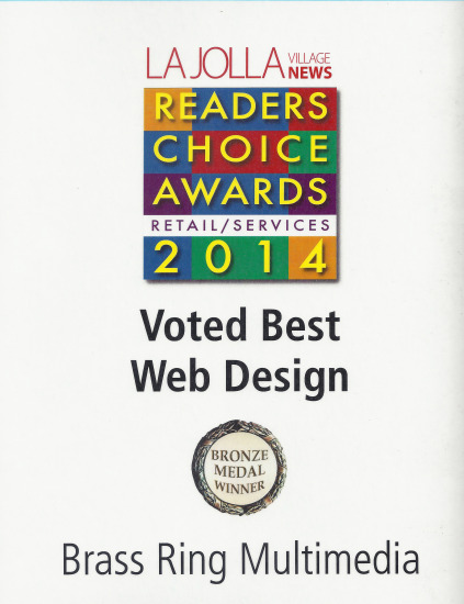 La Jolla Village News 2014 Readers Choice Award, Best Web Design