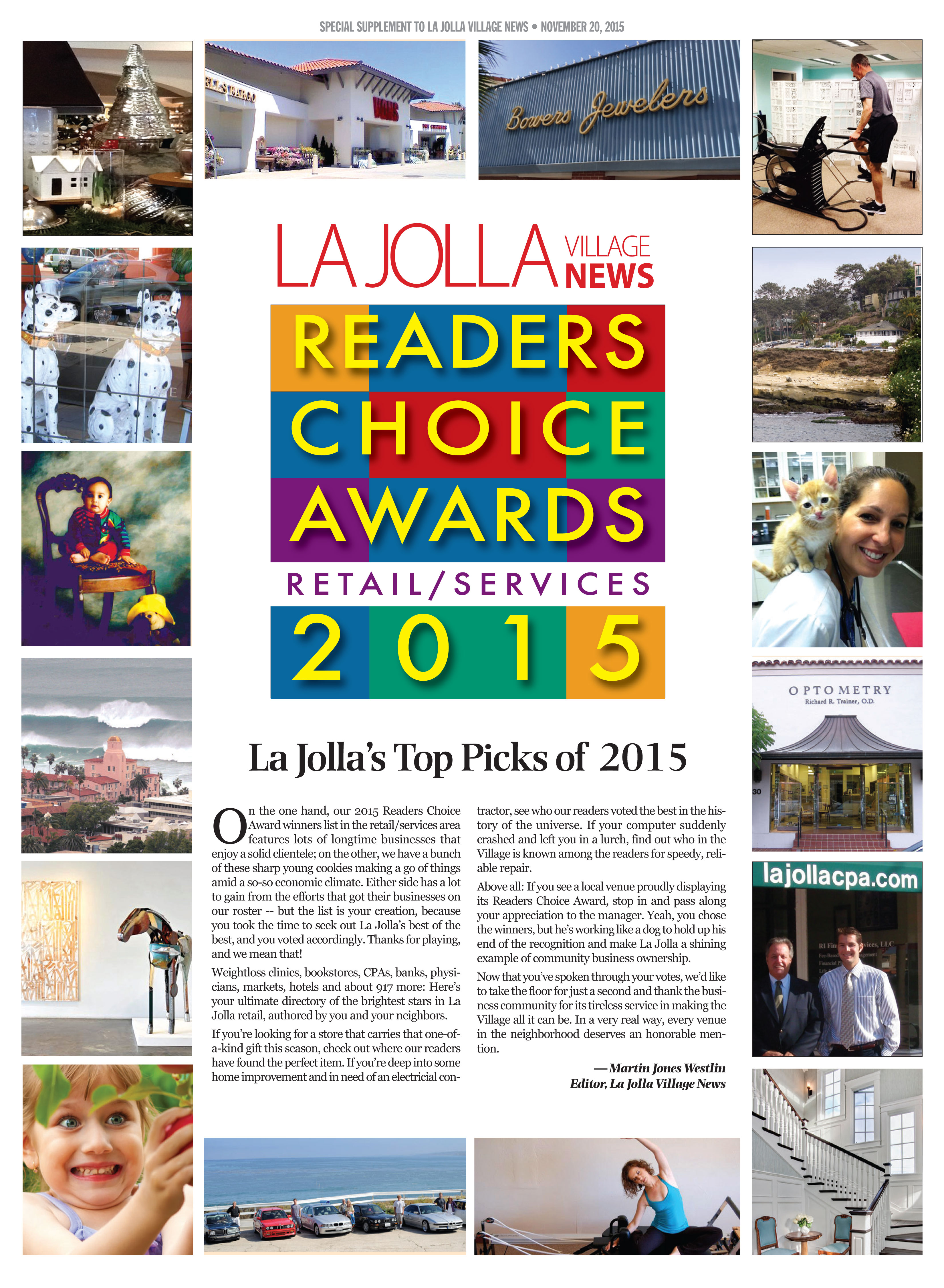 La Jolla Village News Best Retail Services 2016 Awards