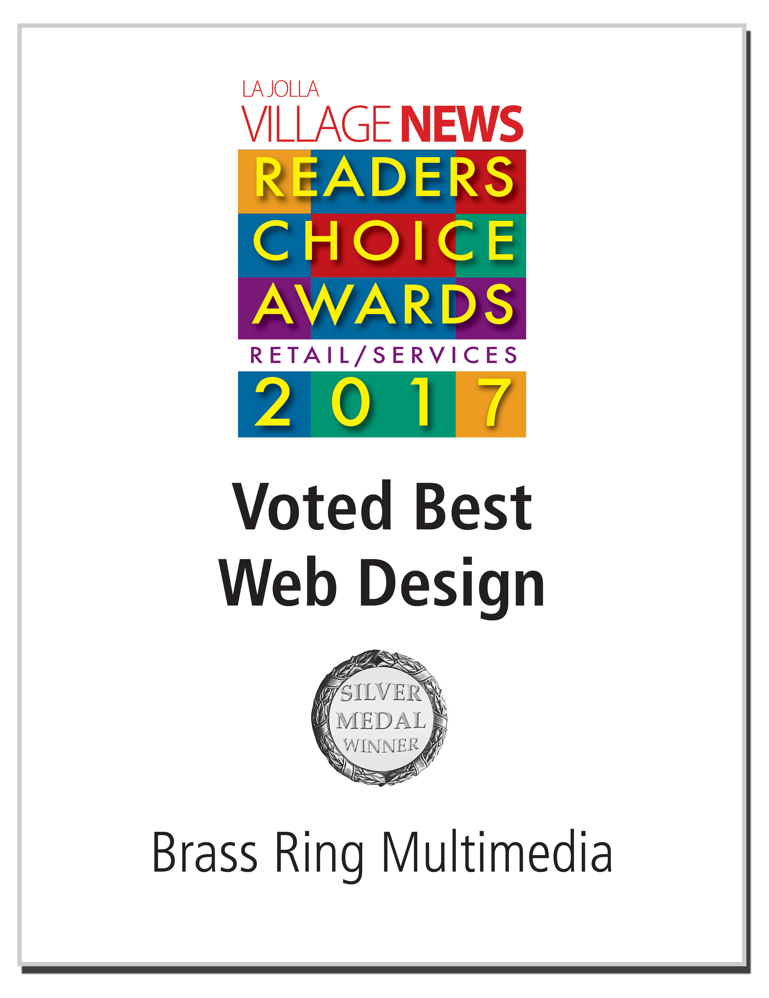 Click for article: Brass Ring Wins 2017 La Jolla Village News Readers Choice Award