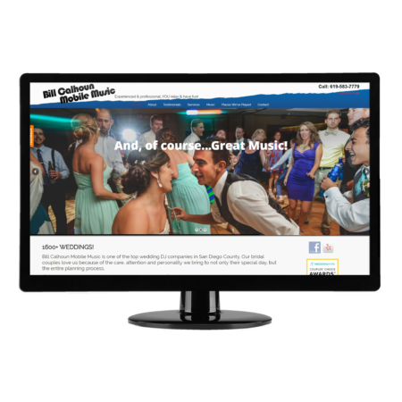San Diego Web Design | Brass Ring Web Design - Bill Calhoun Mobile Music's website conveys their professionalism, experience and fun to brides and grooms as well as wedding planners looking for a great DJ / MC. Testimonials help convince them! | WordPress website design